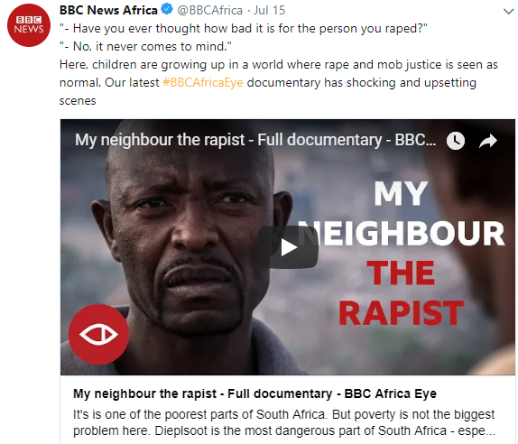 Shocking BBC documentary show South African men admit to being rapists and deliberately spreading HIV (video)