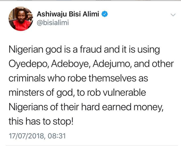 """Nigerian god is a fraud"" Bisi Alimi says as he calls for the arrest of top Nigerian pastors"