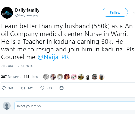 This has got to be the best reply to the trending question about who should relocate after marriage if the wife earns more