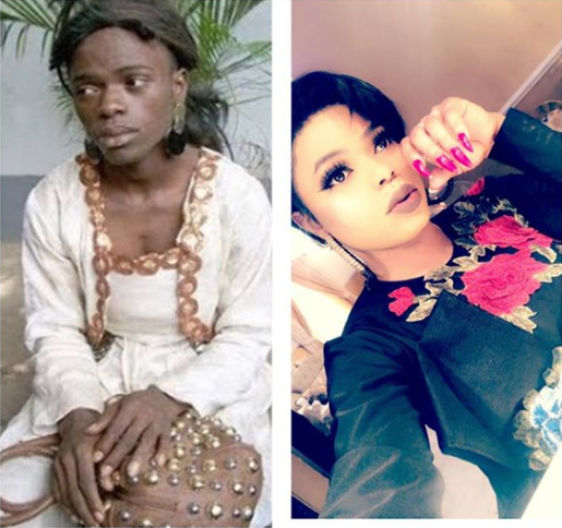"""Each time I remember my previous life I thank God"" Bobrisky says as he shares then and now photos in inspirational post"