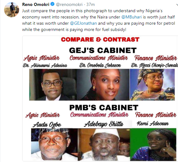Reno Omokri compares and contrast the Ministers who served under GEJ with those serving under Buhari