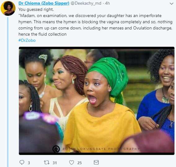 Nigerian doctor shocks her followers with story of a mother who was reluctant to let them treat her daughter because it involved breaking her hymen