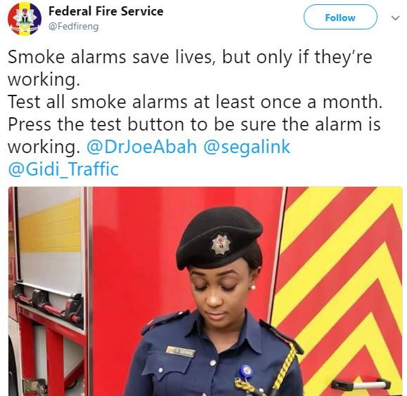 This very pretty Nigerian fire fighter is causing a Twitter meltdown! (Photo)