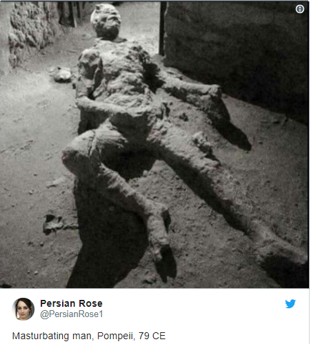 This viral photo does not show a guy who died while masturbating during the volcanic eruption at Pompeii