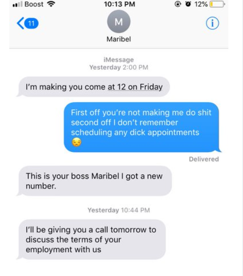 "Guy accidentally texts his boss telling her she doesn?t have a ""d*ck appointment"""
