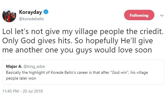 Between Korede Bello, his village people and a savage Twitter troll