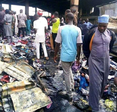 Photos: 270 shops with goods worth millions of Naira destroyed as fire guts Terminus market in Jos