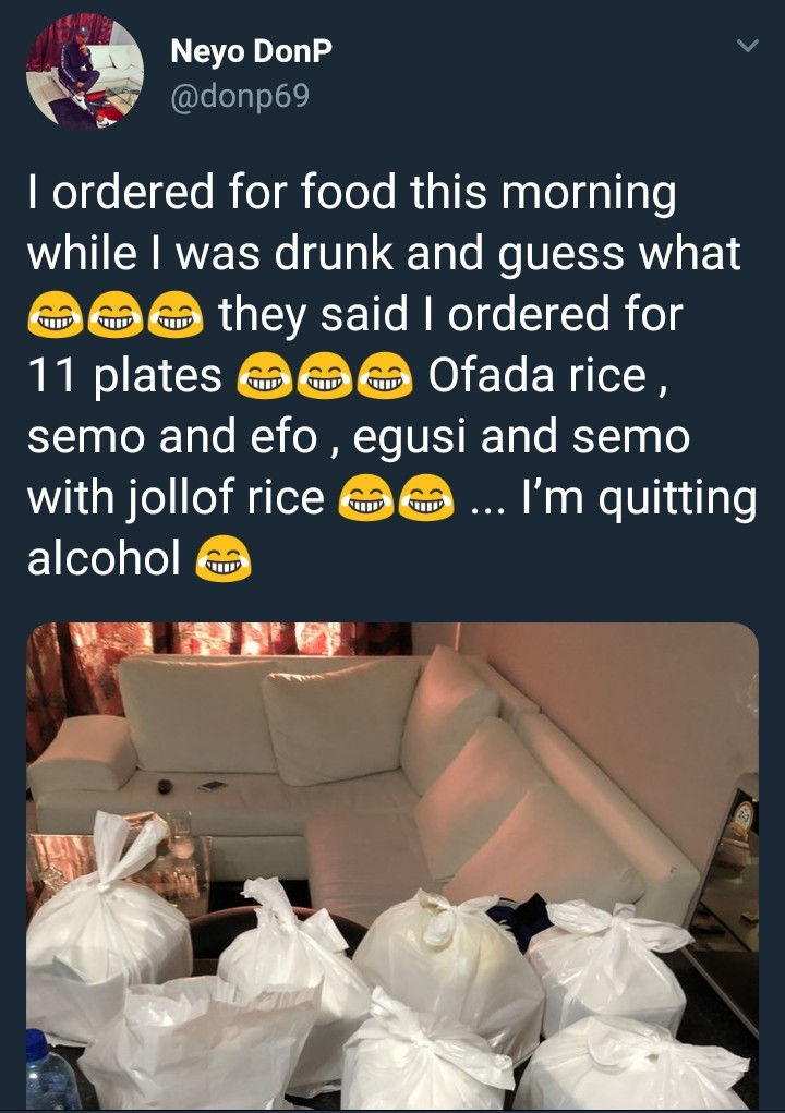 This guy mistakenly ordered for 11 plates of food while drunk