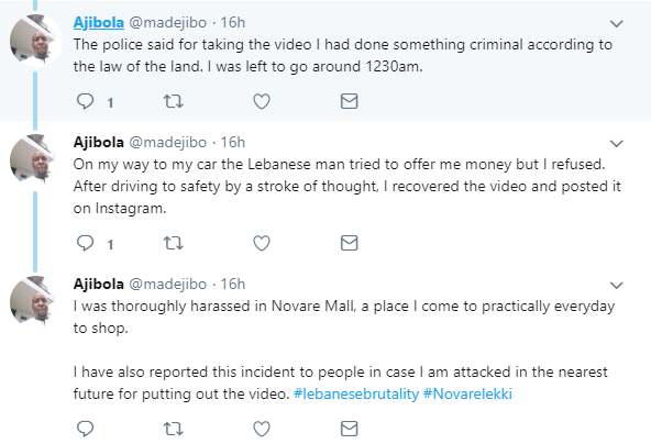 Man assaulted by police for filming a Lebanese man abusing a Nigerian man at Novare Mall in Lekki (video)