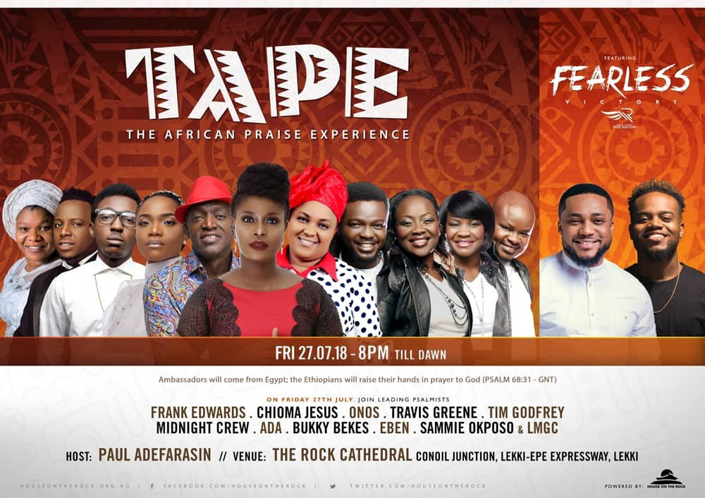 Frank Edwards, Chioma Jesus, Sammie Okposo, Ada to headline The African Praise Experience (T.A.P.E)  this Friday