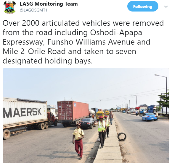 Lagos state govt removes over 2000 petrol tankers/trucks from different major roads in the state