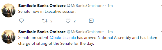 Saraki arrives national assembly, senate now in executive session