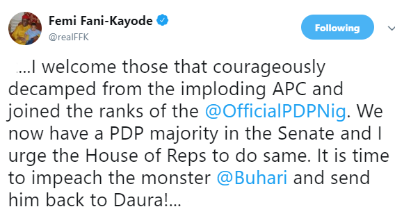 FFK reacts to the defection of APC senators and lawmakers to PDP, says its time to impeach President Buhari
