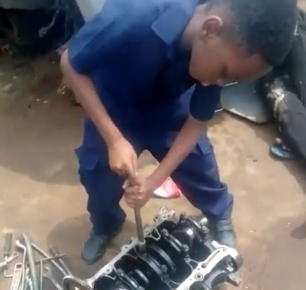 Kunle Afolayan sends his 8-year old son to intern as an automobile mechanic (Video)