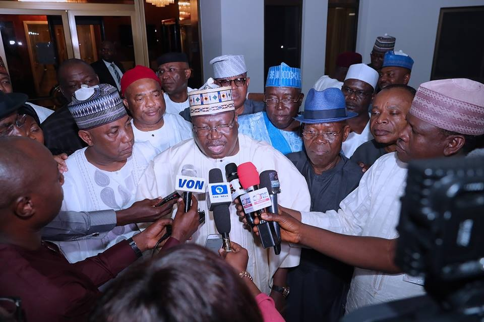 Photos: APC senators all smiles as they pay President Buhari a solidarity visit