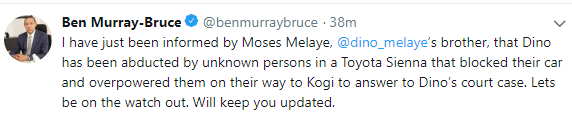'Dino Melaye has been abducted by unknown persons' - Ben Bruce says