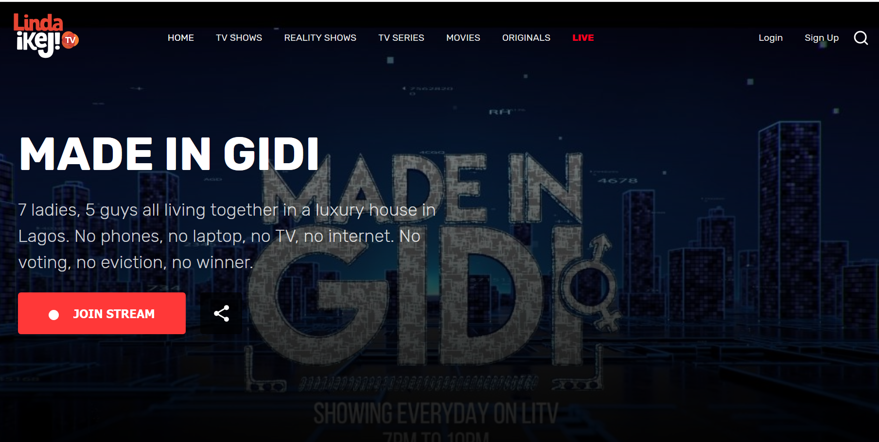 Made In Gidi reality show will start streaming live at 7pm - 10pm on lindaikeji.tv