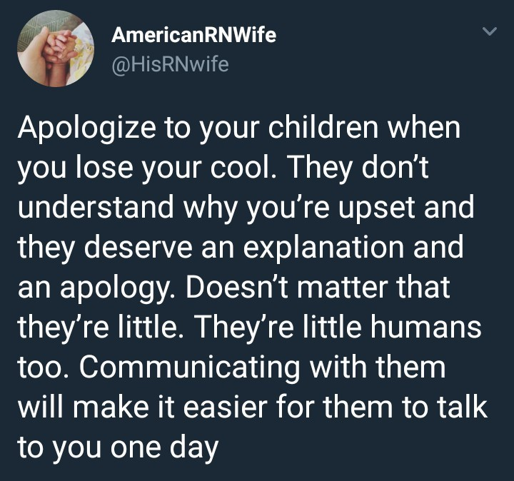 What do you all think of this Tweet about apologising to your children