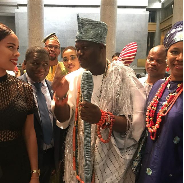 Regina Askia and her gorgeous daughter meet with Ooni Of Ife in US (Photos)