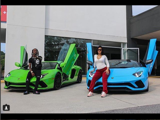 Cardi B and Offset show off new matching Lamborghini cars to?celebrate the birth of their daughter Kulture (Photo)