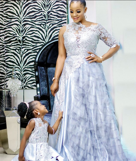 Actress Uche Ogbodo, shares beautiful photos of herself and her daughter in matching outfits