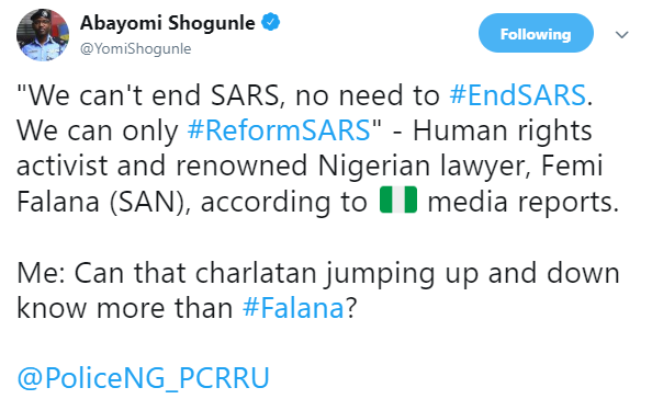 ACP Yomi Shogunle refers to those leading the #ENDSARS campaign as charlatans