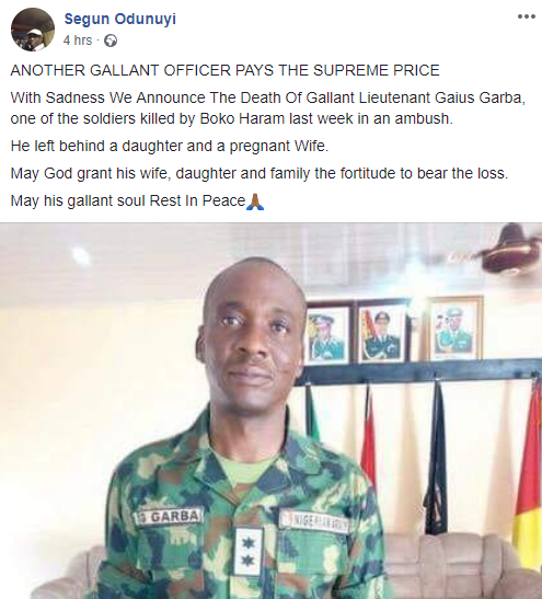 Photo of a gallant soldier killed in recent Boko Haram ambush