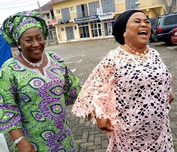 Caption this photo of Sola Sobowale and Patience Ozokwo...
