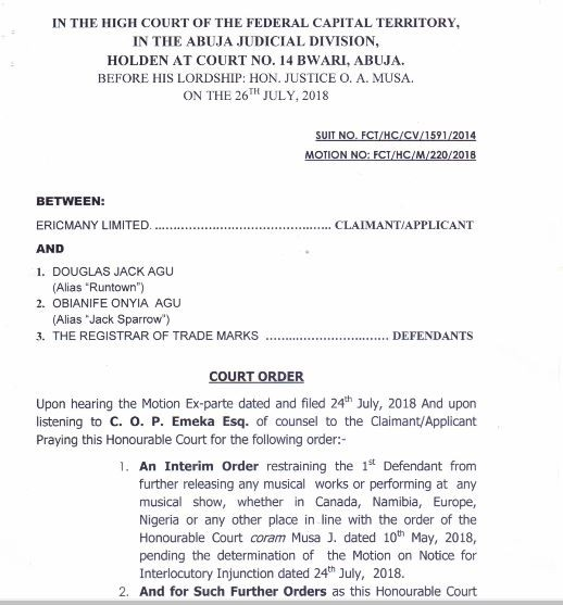 LIB Exclusive: Runtown to appear at Abuja High Court on August 8th for disobeying a Court Injunction