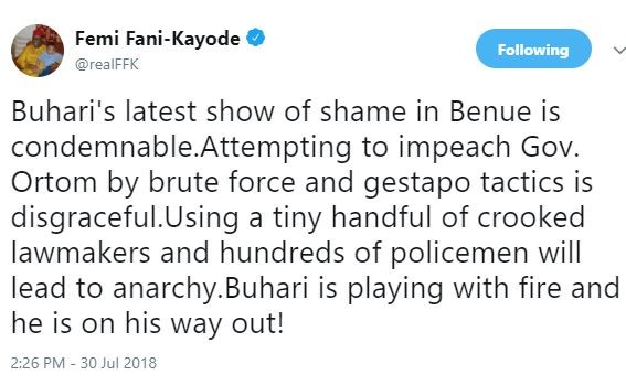 Buhari's latest show of shame in Benue State by attempting to impeach Governor Ortom by brute force is disgraceful and condemnable - FFK