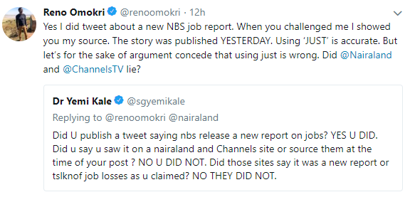 Statistician General of Nigeria, Yemi Kale and Reno Omokri call each other out on twitter