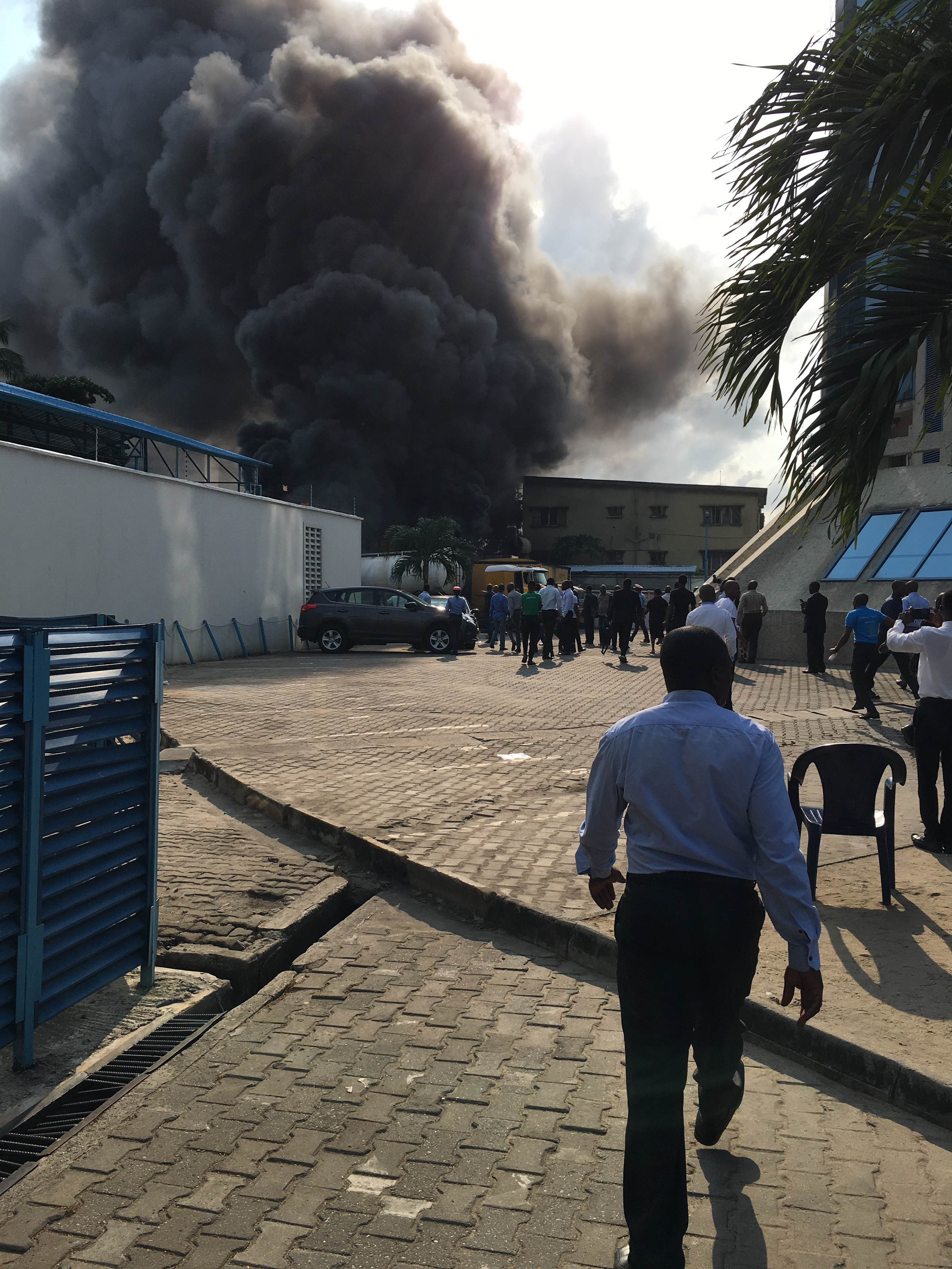 Fire outbreak around EcoBank Head Office in Victoria Island this morning