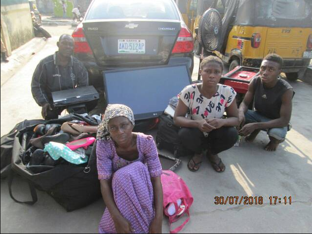 Father,mother, son and his girlfriend arrested for stealing in Lagos