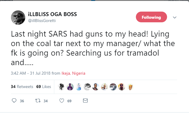 Rapper, Illbliss harassed by SARS officials in Lagos, says they had guns to his head while he was being searched for