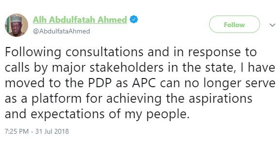 Election 2019: 'I have moved to the PDP as APC can no longer serve as a platform for achieving the aspirations of my people' - Kwara State governor, Abdulfatah Ahmed