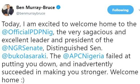 'APC failed at putting you down, and inadvertently succeeded in making you stronger' - Ben Bruce welcomes Saraki to PDP
