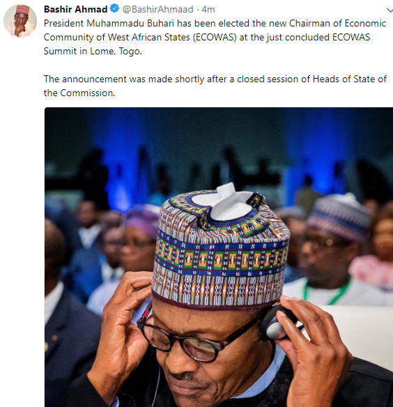 President Buhari elected chairman of ECOWAS
