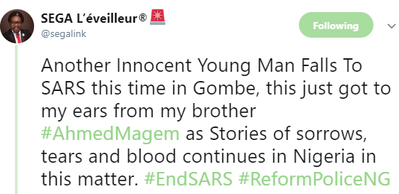 Photo: SARS officers in Gombe allegedly beat man to death after he was falsely accused of stealing a phone
