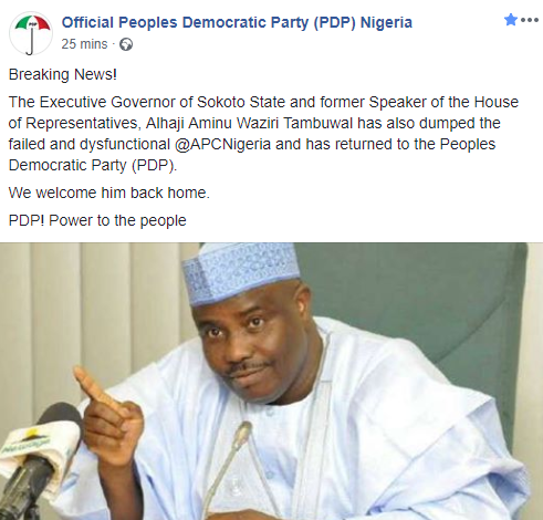 PDP welcomes Governor Tambuwal back to their party
