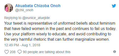 Nigerian female presidential aspirant objects to being called a feminist and gets attacked by Twitter users