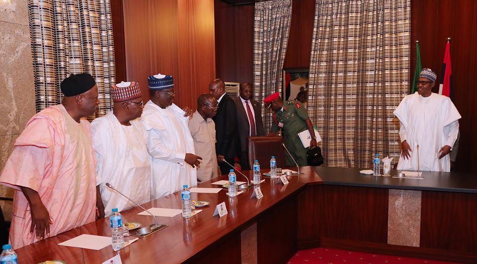 Defections: President Buhari meets with APC Senators and Governors