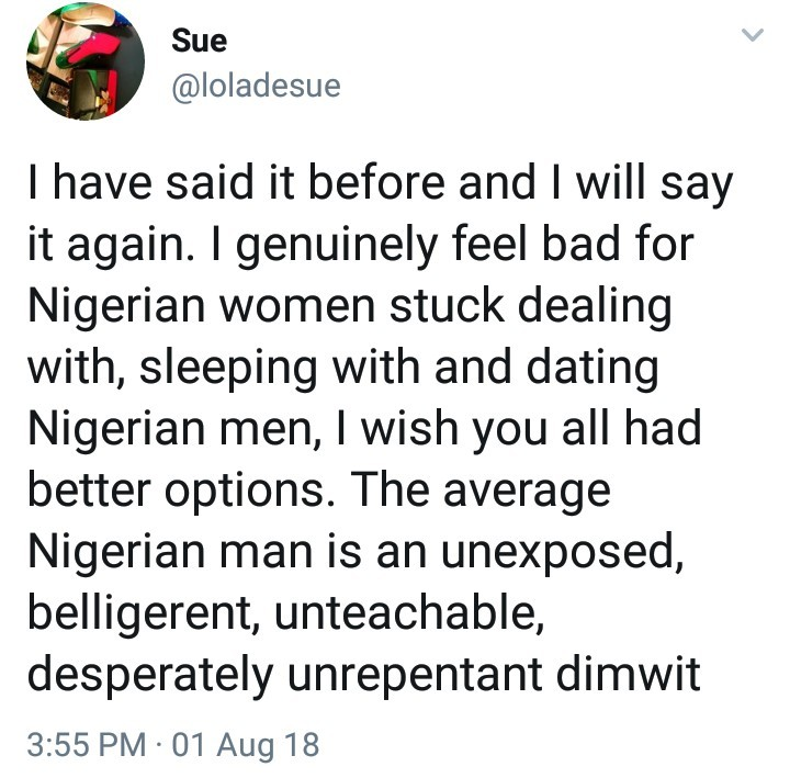 Woman slams Nigerian men, says she feels sorry for the women who are stuck dating them
