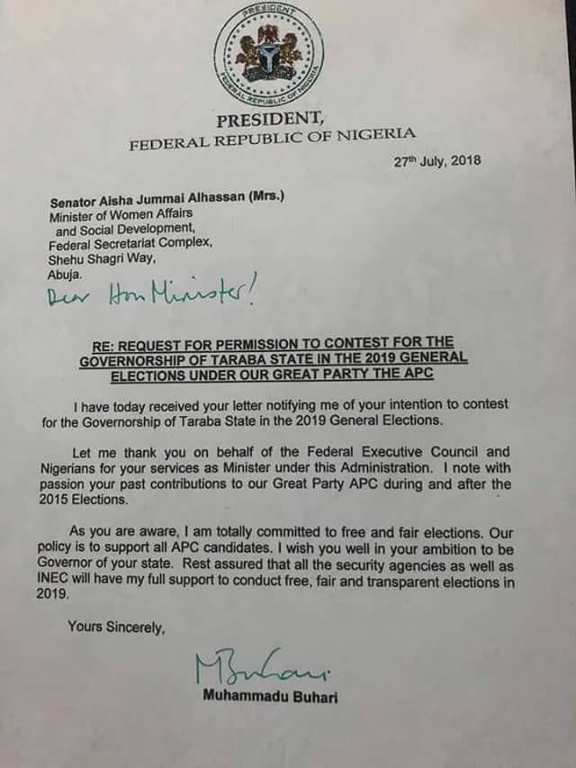 Buhari responds to Aisha Alhassan
