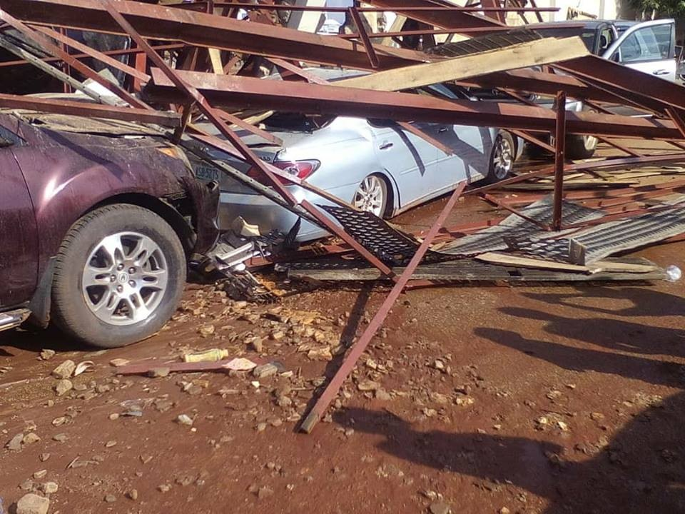 Photos:  Cars destroyed as overhead water tank collapse at newly renovated Stephen Keshi Stadium