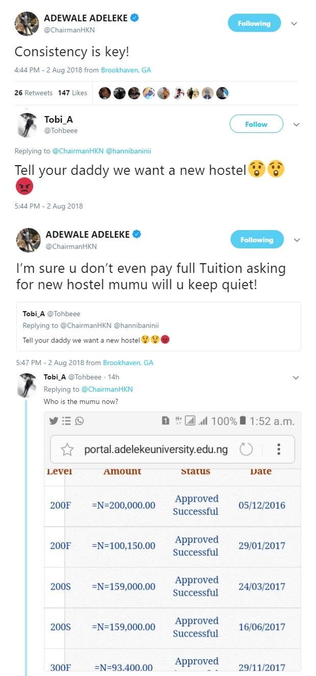 Davido?s brother Adewale slams student requesting for a new hostel at their dad?s private university
