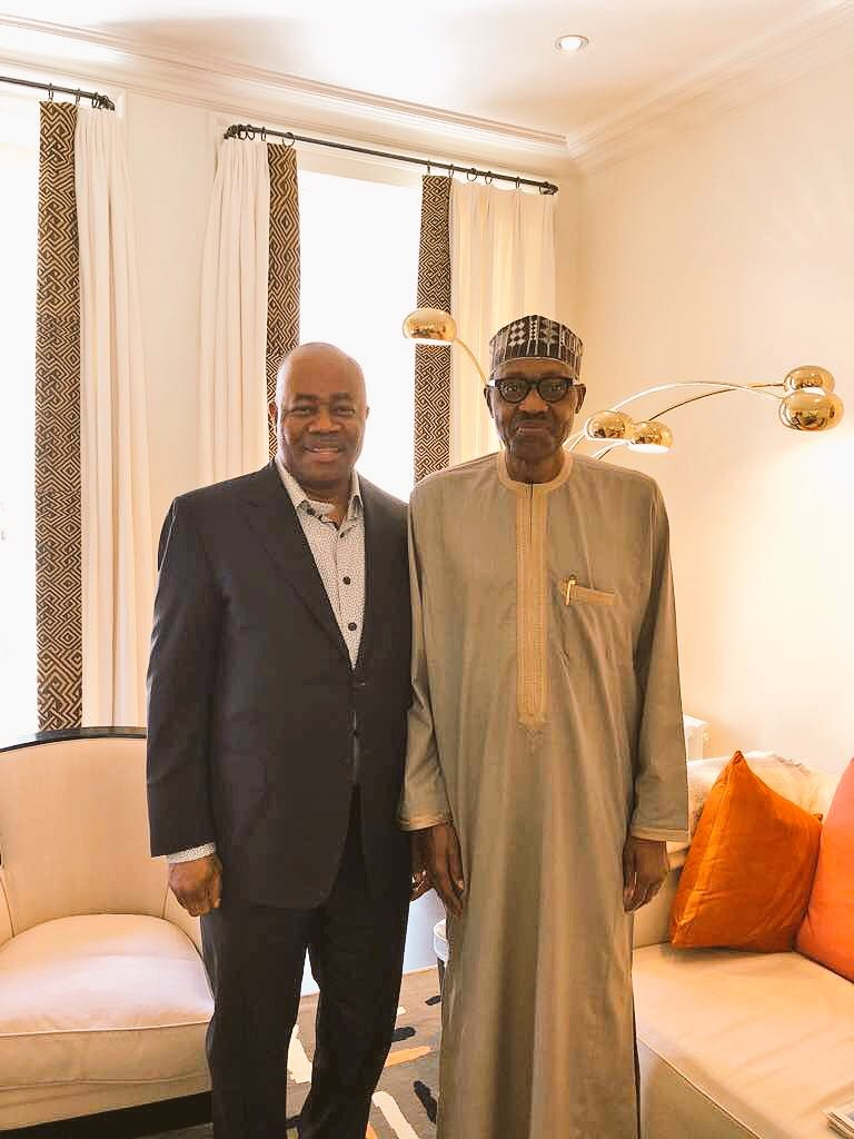 Godswill Akpabio meets president Buhari in London ahead of rumoured defection