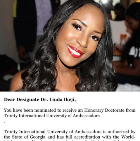 Linda Ikeji to be awarded with an Honorary Doctorate from Trinity International University of Georgia for her contribution to media in Africa