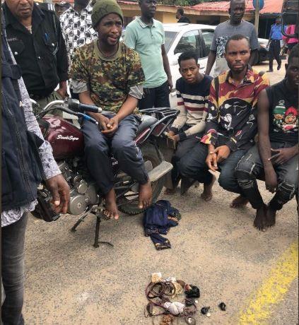 Lagos police arrest?Okada man and?his associates unleashing terror on residents of Ajah (Photos)