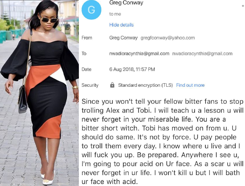 BBN star Cee-C receives acid threat over