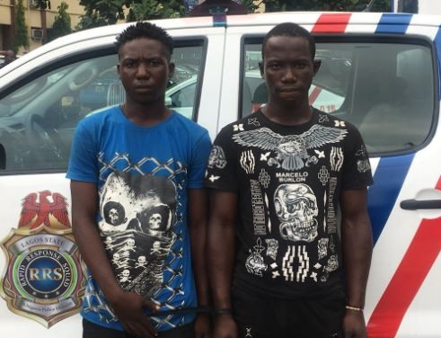 Two suspected phone thieves with?two phones and three sim cards arrested by RRS in Lagos (Photo)